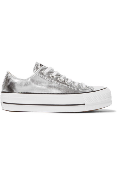 Converse - Chuck Taylor All Star Lift Metallic Textured-leather Platform  Sneakers - Silver 74a0a6306