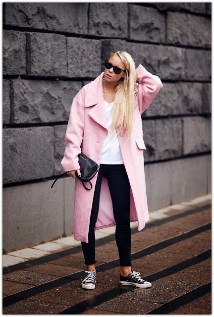 Street Style Pink Coat.  Pinned by #PinkPad, the women's health app. pinkp.ad