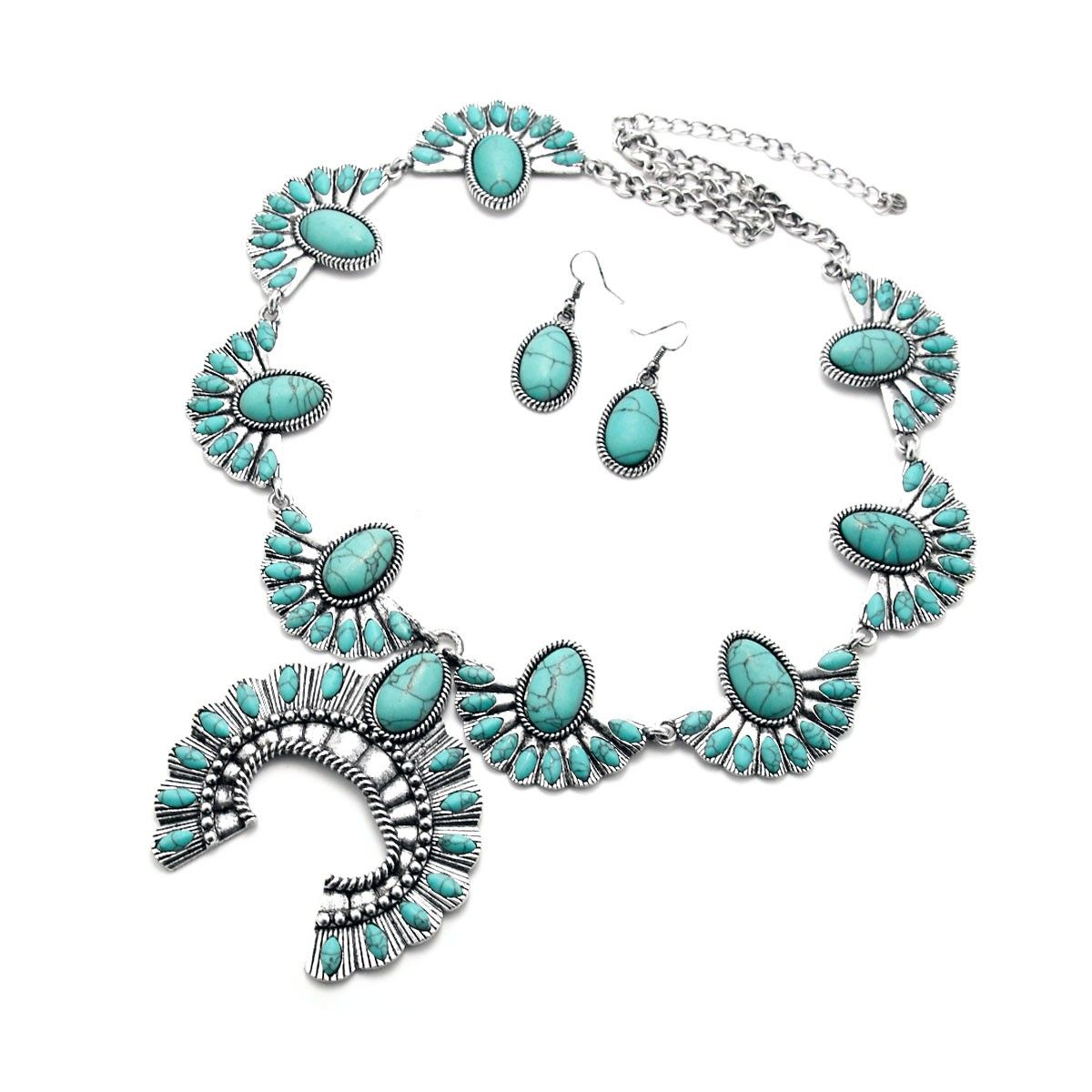 Turquoise Howlite Tribal Necklace and Earring Set