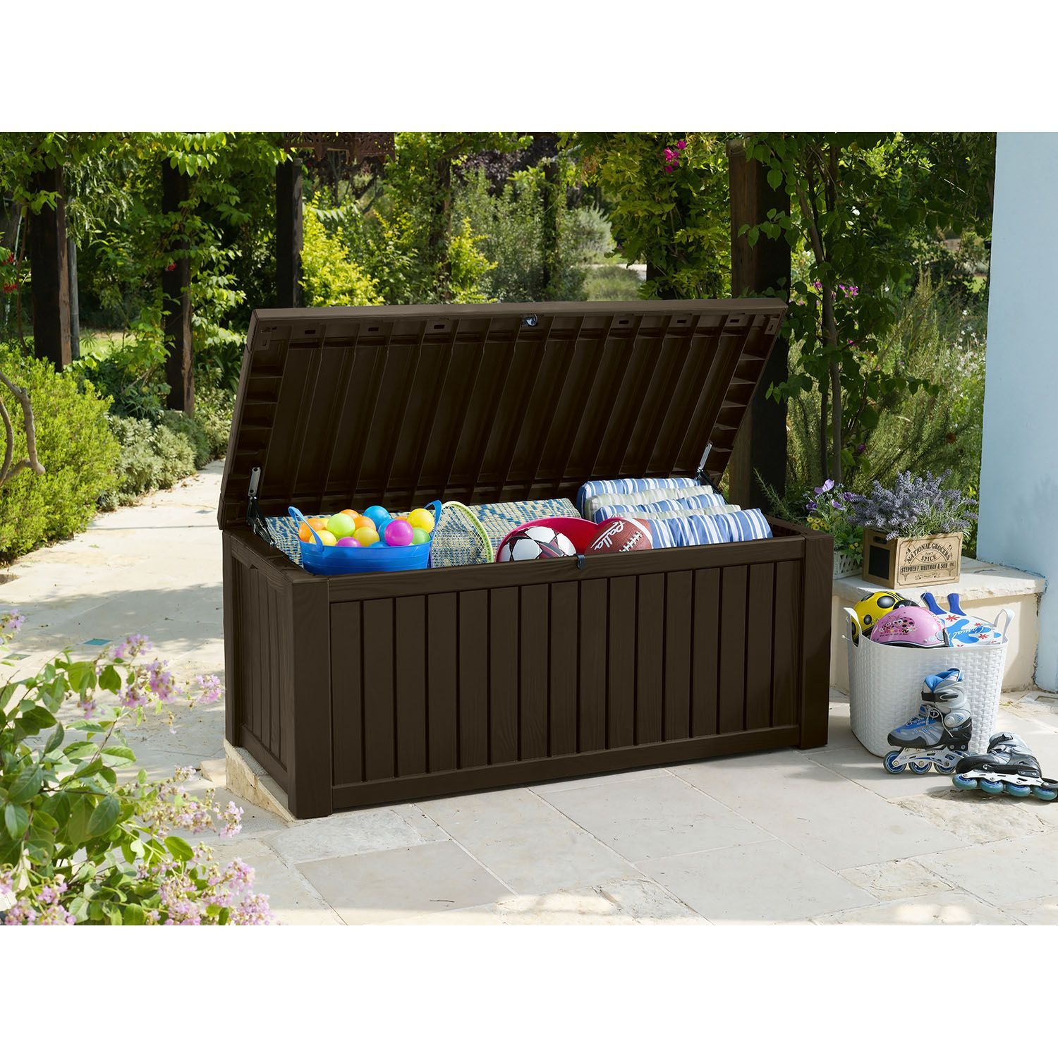 Keter Rockwood Outdoor Plastic Deck Storage Container Box 150 Gal