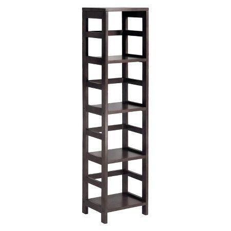 4 Section Narrow Bookshelf Espresso Winsome Target