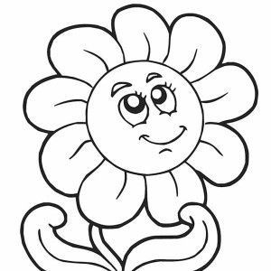 Happy Flower Thinking Coloring Page