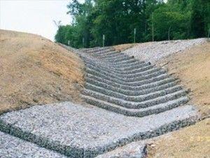 colchones de gaviones utilizados en el canal de proteccin contra la erosin