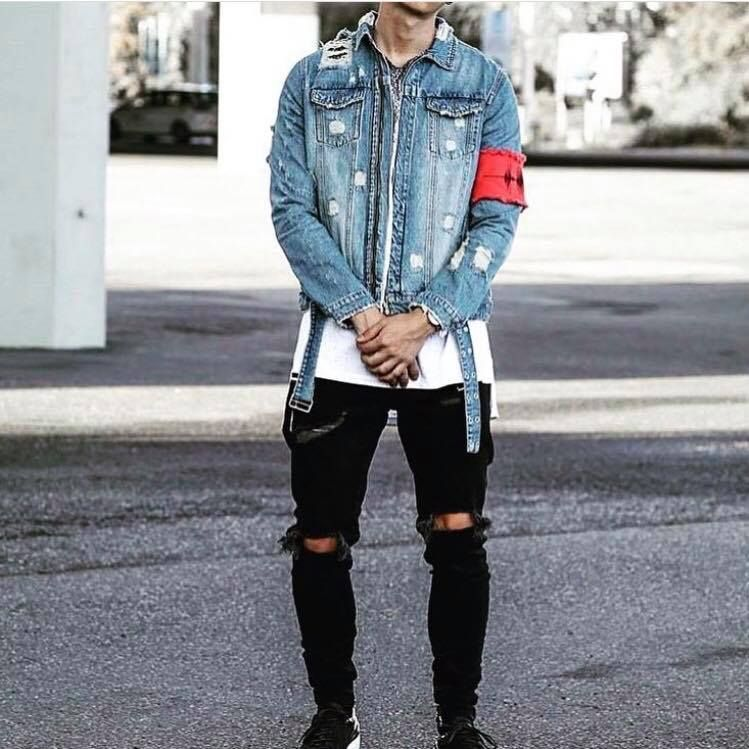 Sale > denim jacket streetwear outfit > is stock