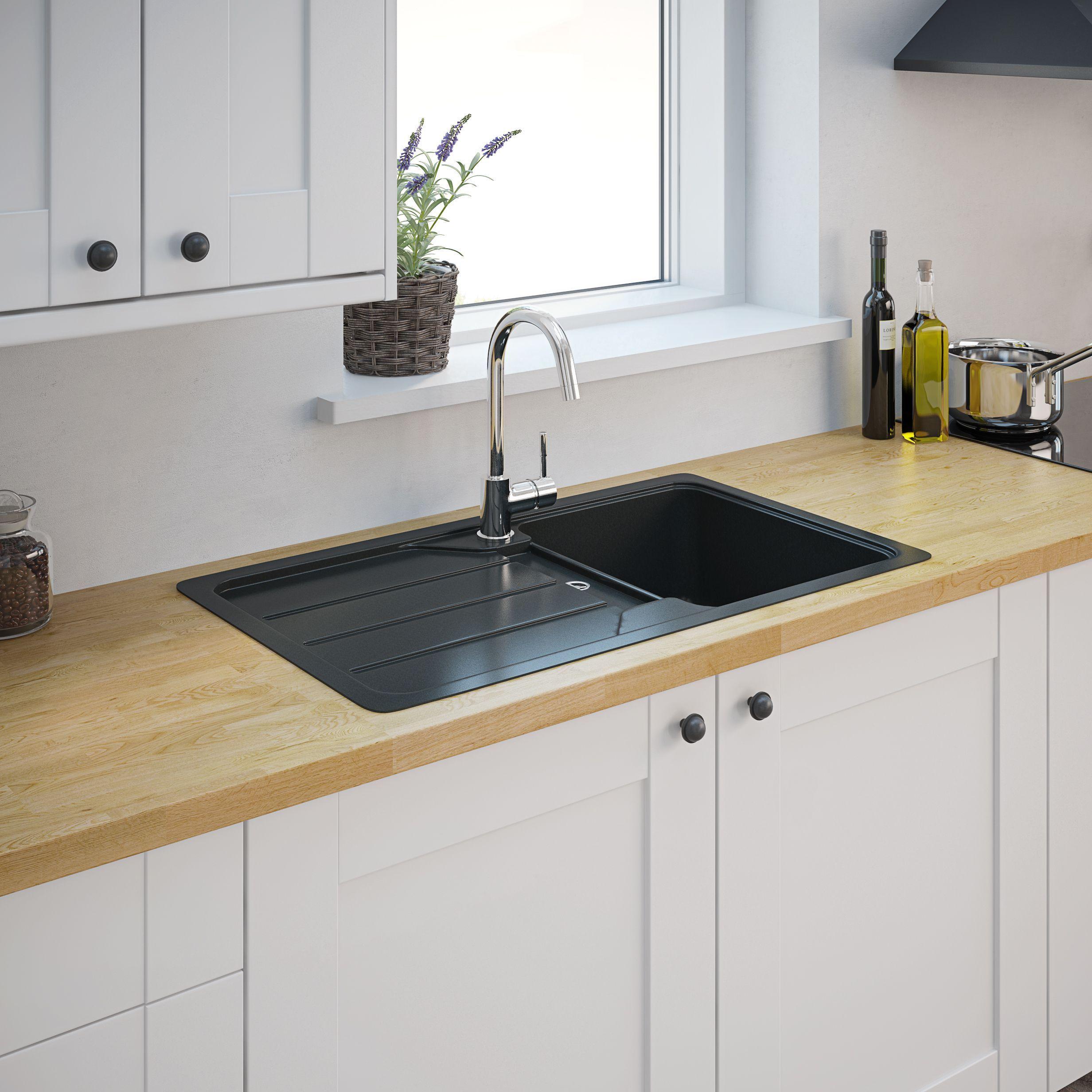 Cooke Lewis Arber Black Composite Quartz 1 Bowl Sink Drainer In 2020 Bowl Sink Composite Kitchen Sinks Sink Drainer