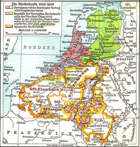 The Netherlands In The 16th Century Netherlands Map Holland Map