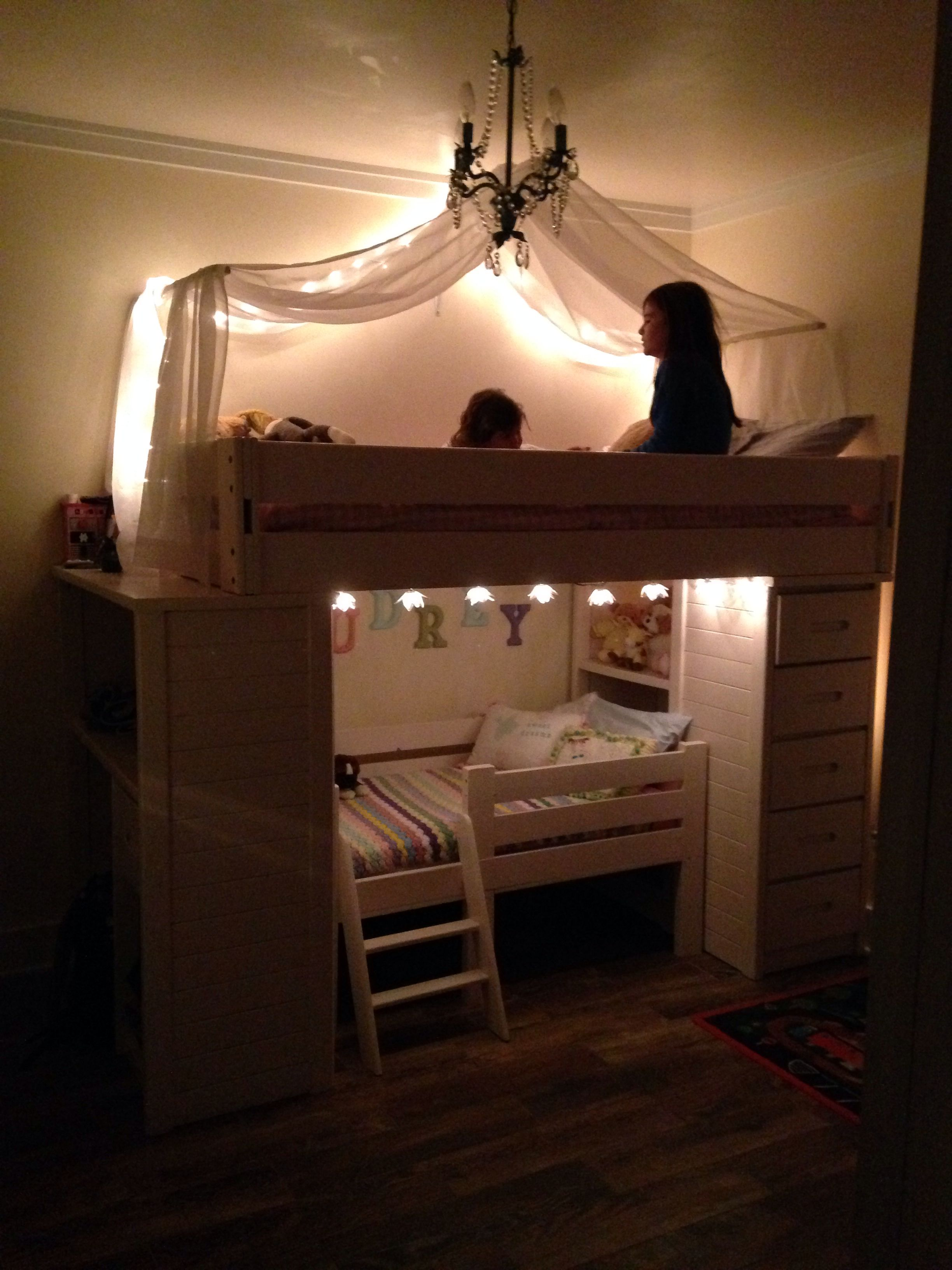 Under loft bed lighting ideas  Girls bunkbed  New House  Pinterest  Girls Room and Bedrooms