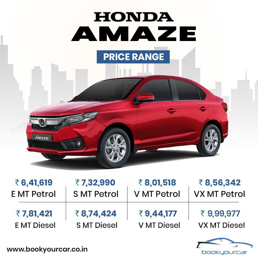 Presenting the Price Range of New Honda Amaze. Honda