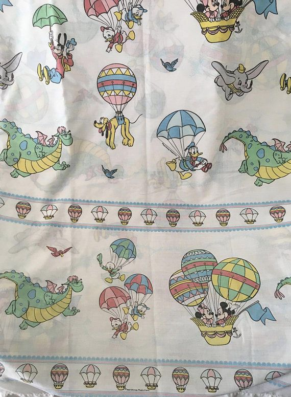 VINTAGE DISNEY MICKEY MOUSE FRIENDS TWIN FITTED & FLAT BED ...
