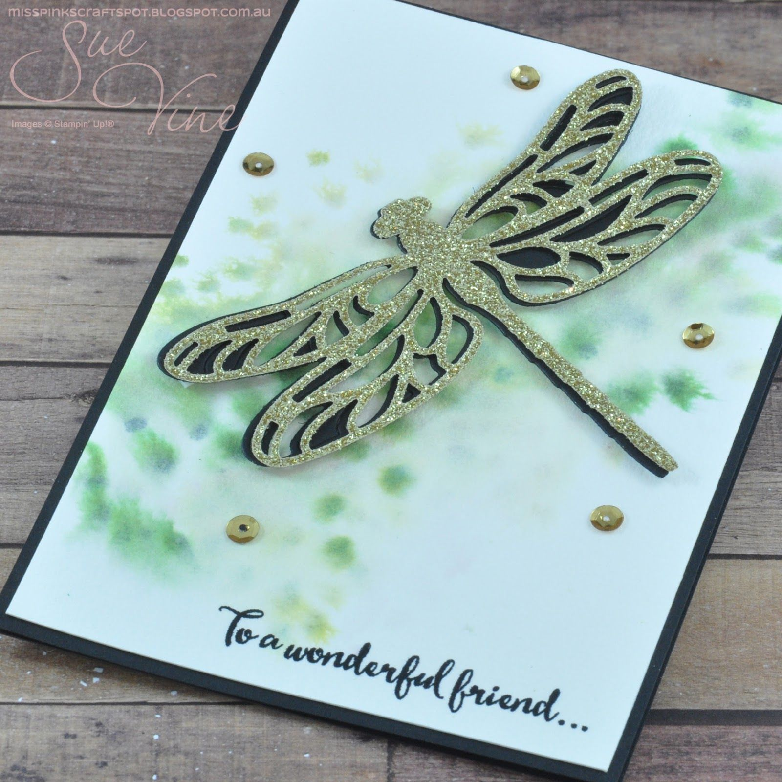 Miss pinks craft spot featuring stampin up products by sue vine miss pinks craft spot dragonfly dreams with a spritz jeuxipadfo Gallery