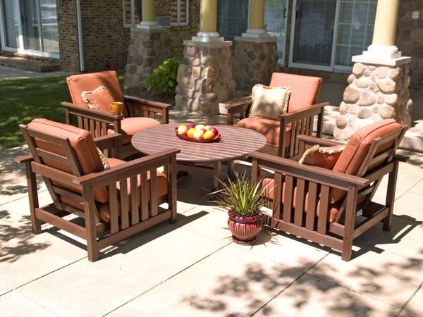 Fusing The Club And Mission Styles, The Polywood Club Mission Patio  Furniture Collection Comes With