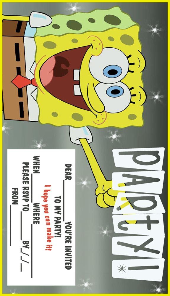 2 free, printable spongebob party invitations | Let\'s party ...