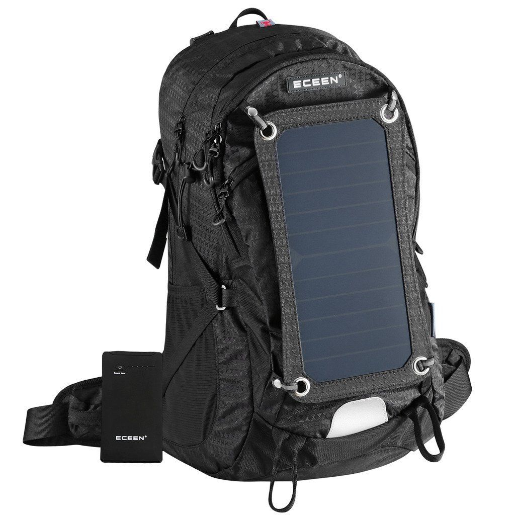 eceen solar powered external frame pack sun charged hiking backpack with 10 watts solar charger panel