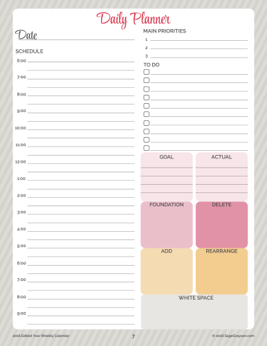 Edited Year Planners Free Daily Planner Schedule Printable