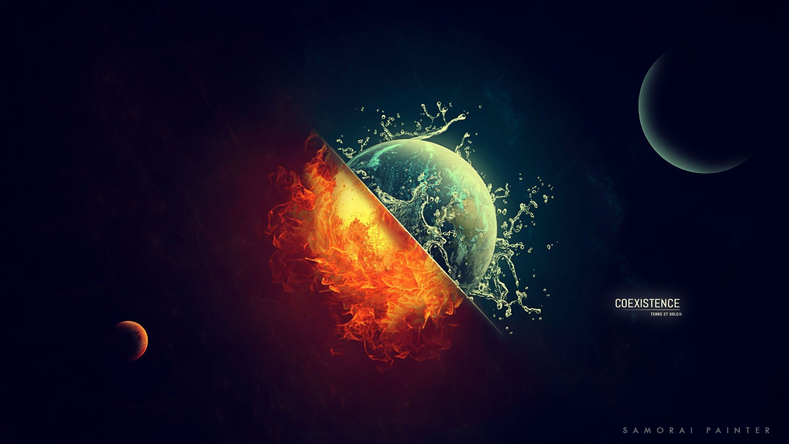 planet and sun digital wallpaper, coexistence signage with sun and moon illustration digital art #space #universe #planet #Sun #Moon #Earth #fire #burning #water #splashes #coexist #2K #wallpaper #hdwallpaper #desktop