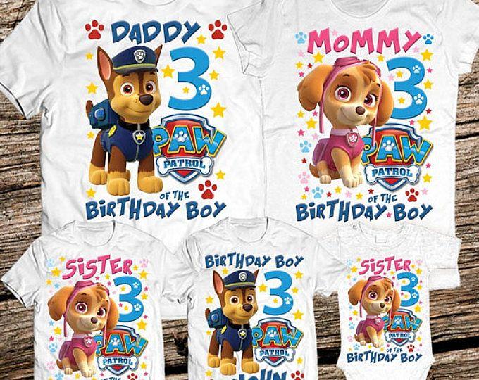 First Birthday Shirt 1st Birthday Bodysuit Paw Patrol Embroidered Birthday Shirt Paw Patrol Birthday Shirt