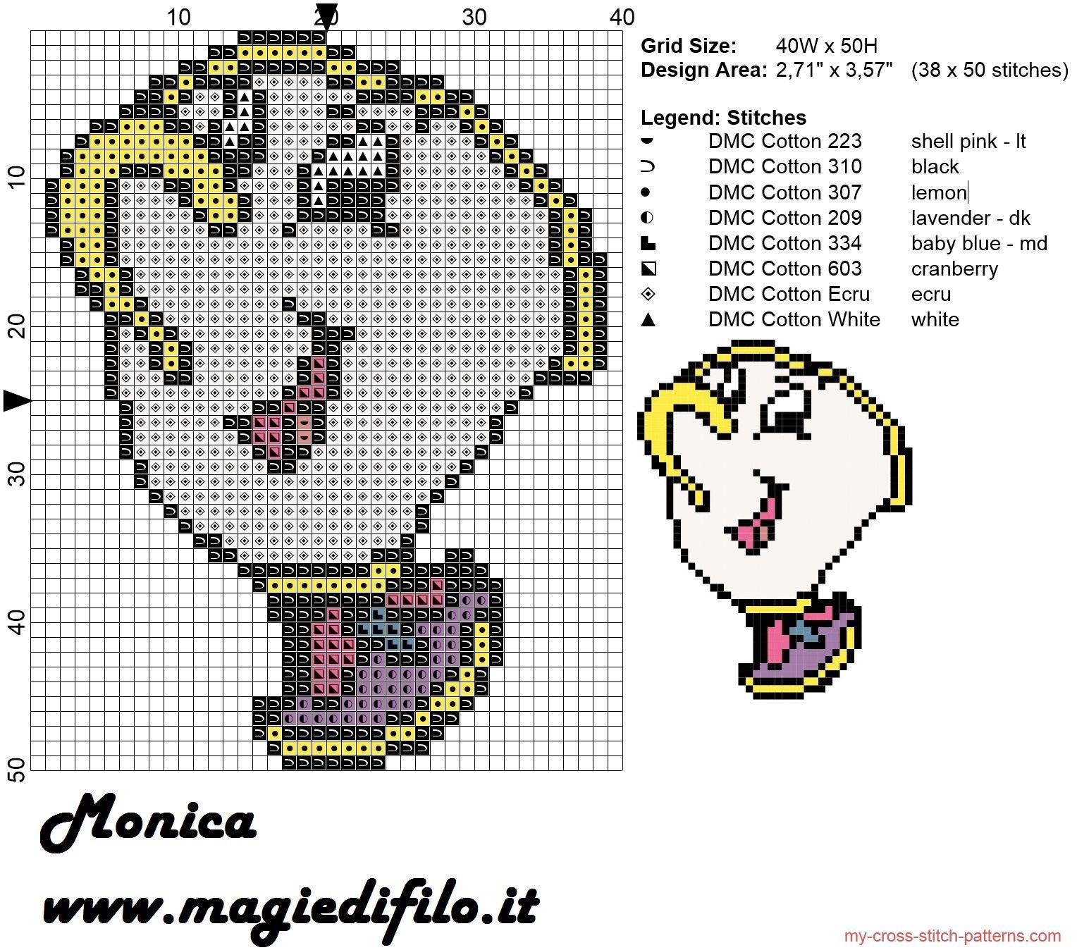 Chip (The Beauty and The Beast) cross stitch pattern | Punto de cruz ...