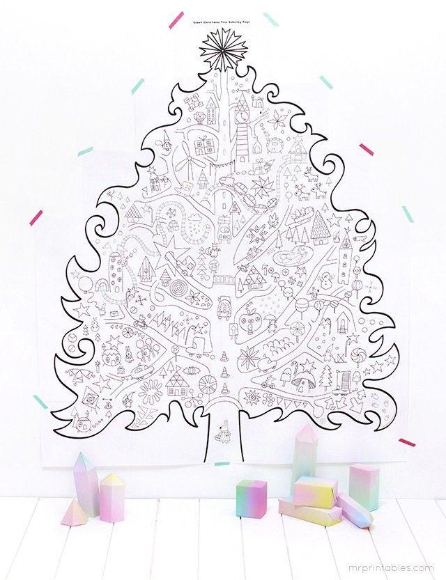 Printable Coloriage Sapin De Noel Geant Christmas Pinterest