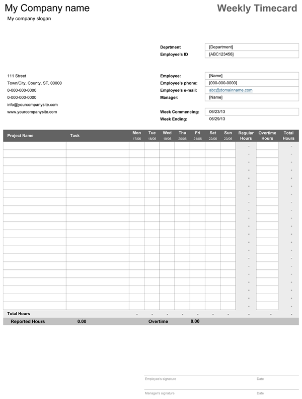 Simple Weekly Timecard template, whic helps to keep record and