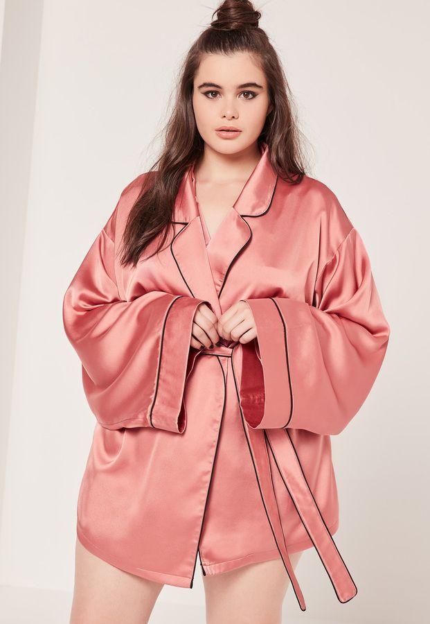 Plus Size Kimono Pipe Detail Silk Robe Pink Pink Pink Milky Way