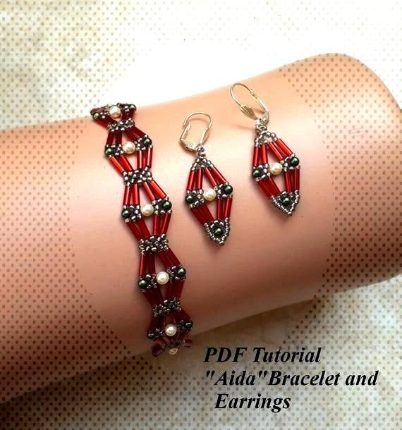 Beading Tutorial Aida Bracelet and Earrings | Etsy
