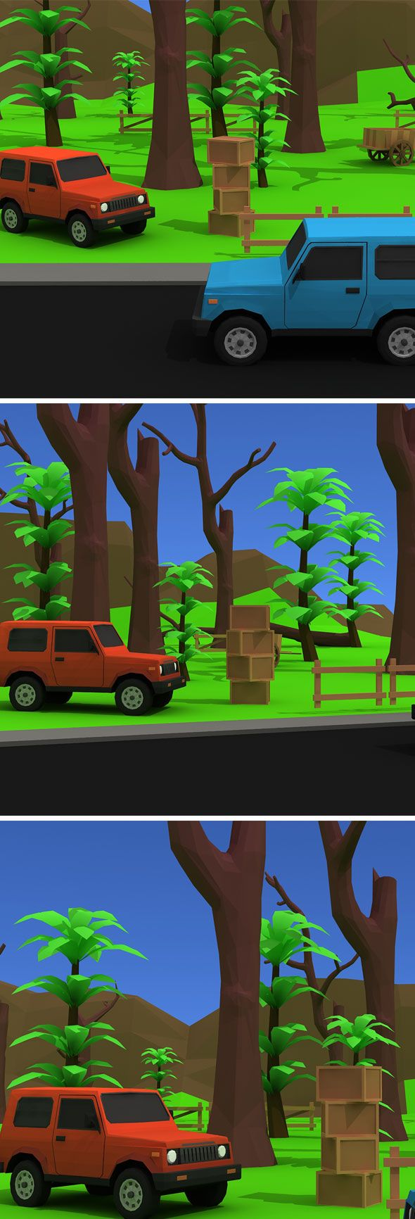 Jungle Way Low Poly Model. Fully customizable low-poly 3D model. #3D #3DModel #3DDesign #Lowpoly #3dcomic #VR #AR #art #car #cartoon #creative #environment #hill #jeep #jungle #product #road #sky #tree #vehicle #way