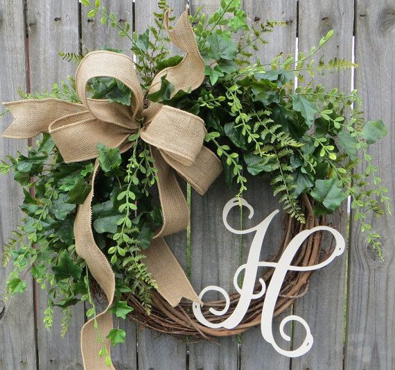 Wreaths For Front Door Everyday Monogram