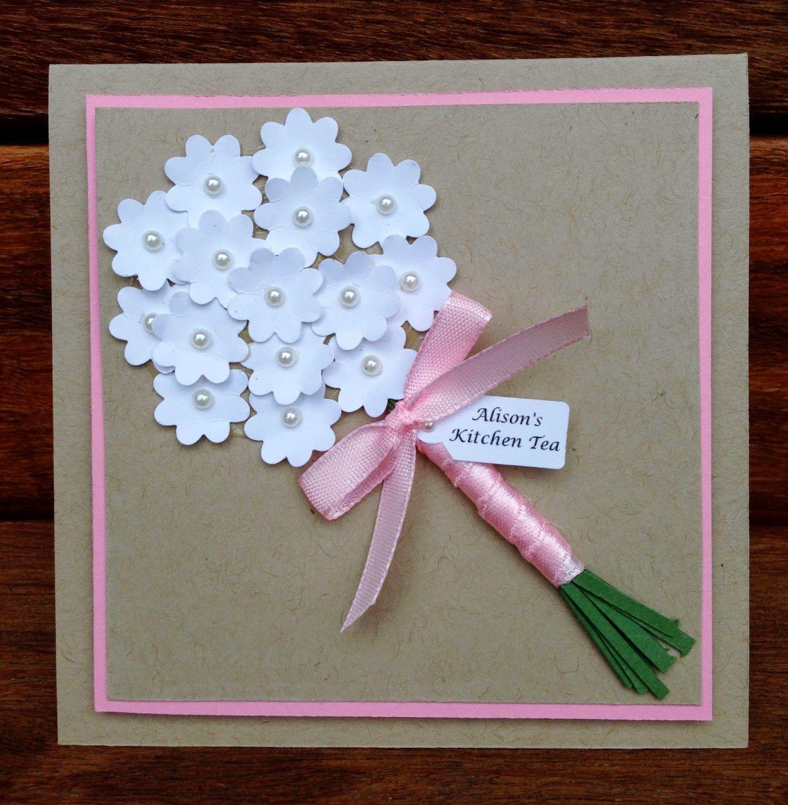 Kitchen tea bridal shower wedding bouquet card using