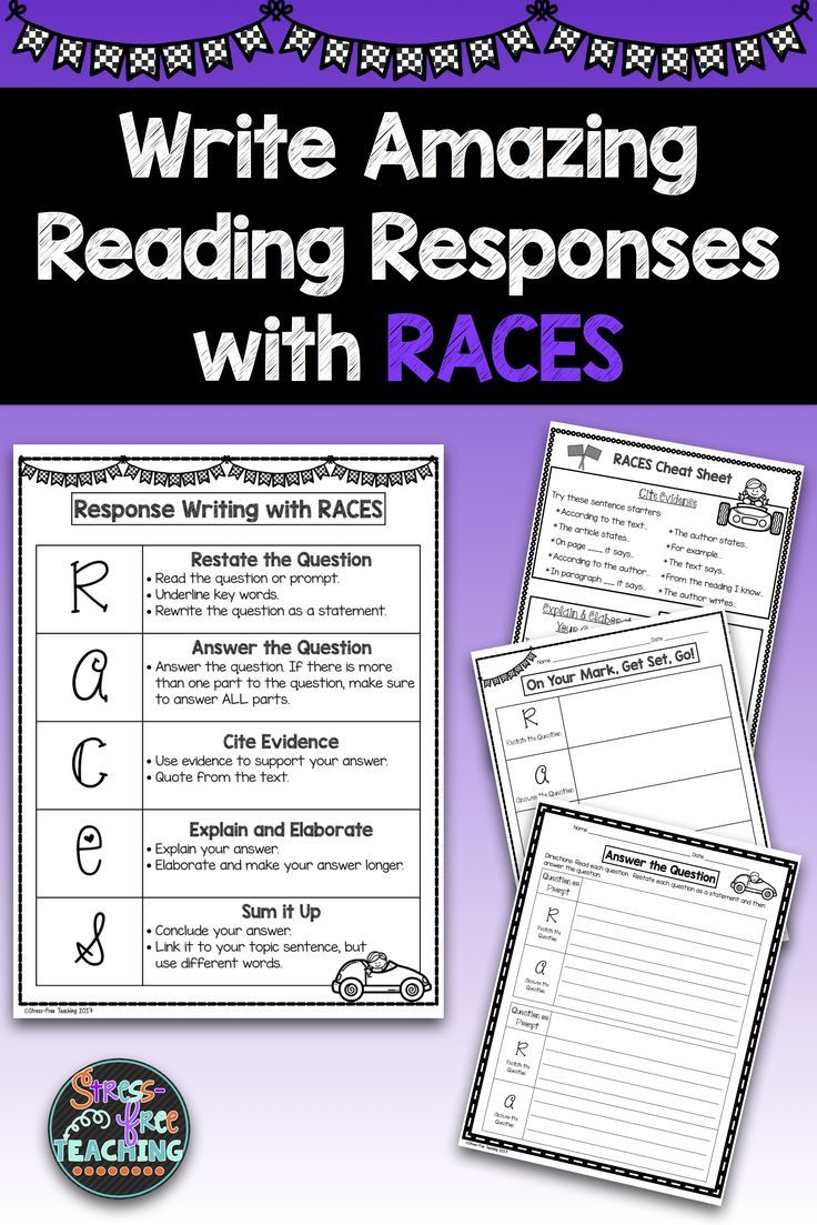 small resolution of Reading Responses   5th Grade   RACES Strategy   Are you looking for a way  to help your students write resp…   Third grade writing