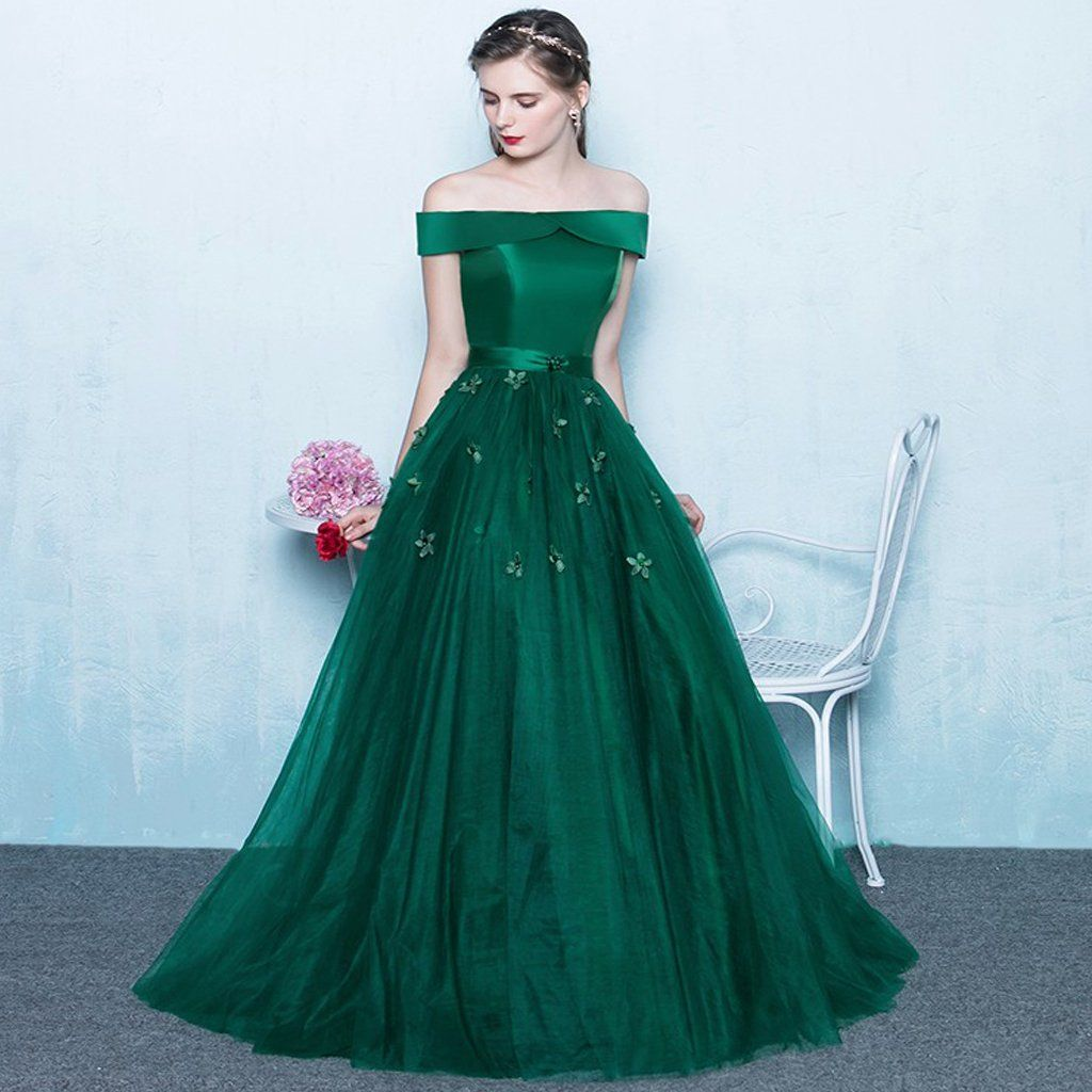 Green off shoulder lace up back appliques party for teens prom gown