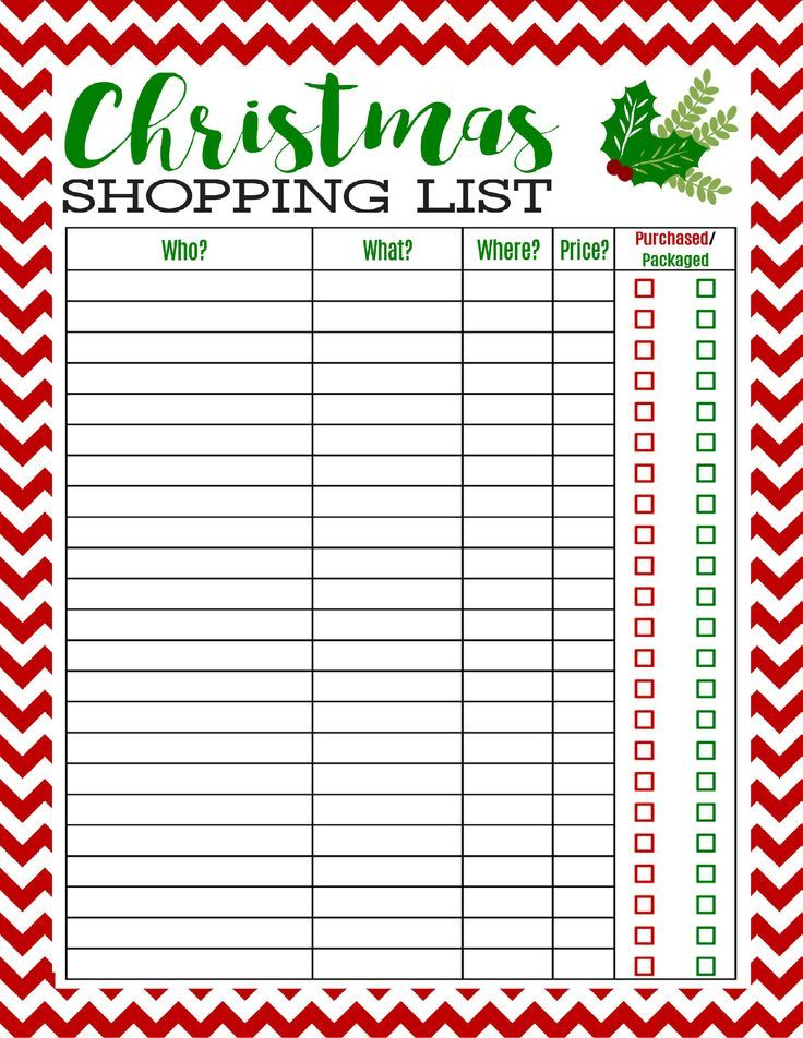Free Printable Christmas Shopping List Pinterest Christmas