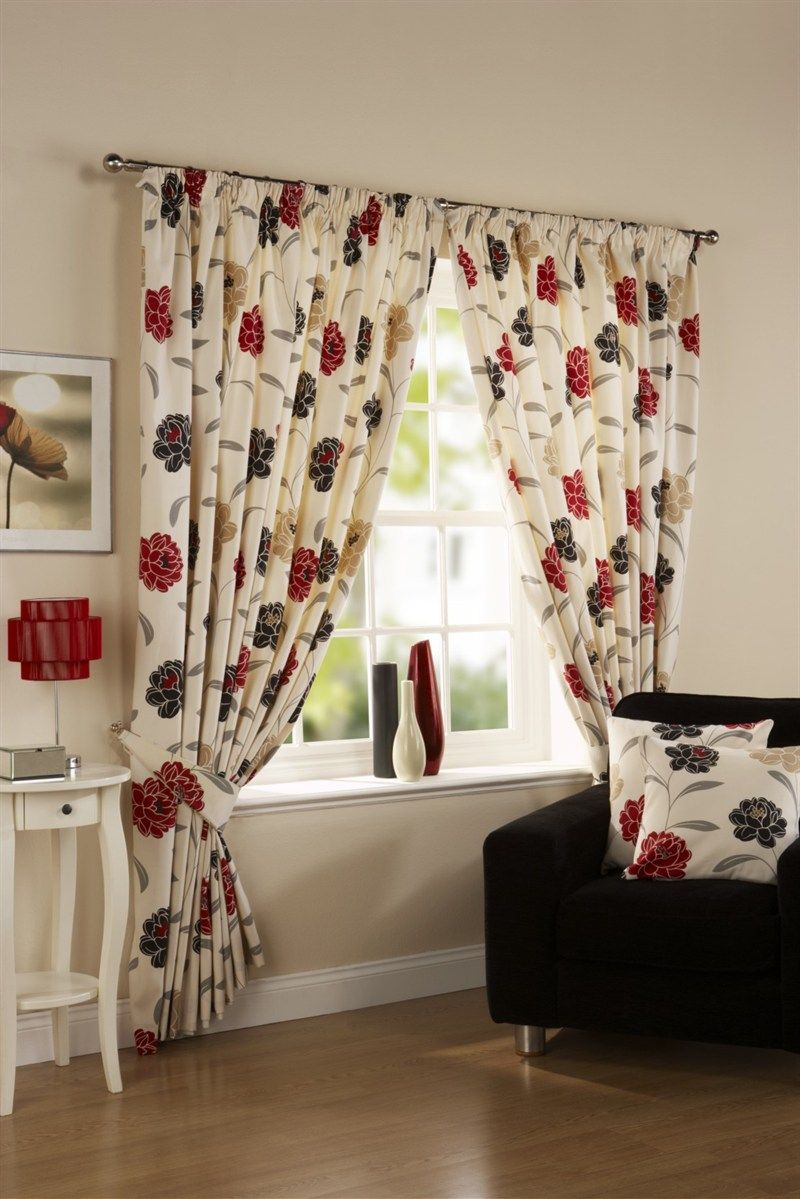 Black And Red Kitchen Curtains | Home Curtains U0026 Net Ready Made Curtains  Pencil Pleat Curtains