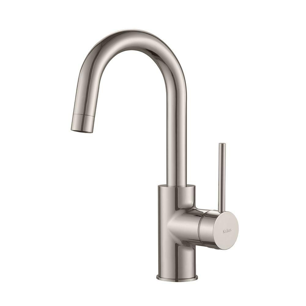 Kraus Oletto Singlehandle Kitchen Bar Faucet In Stainless Steel Prepossessing Single Handle Kitchen Faucet 2018
