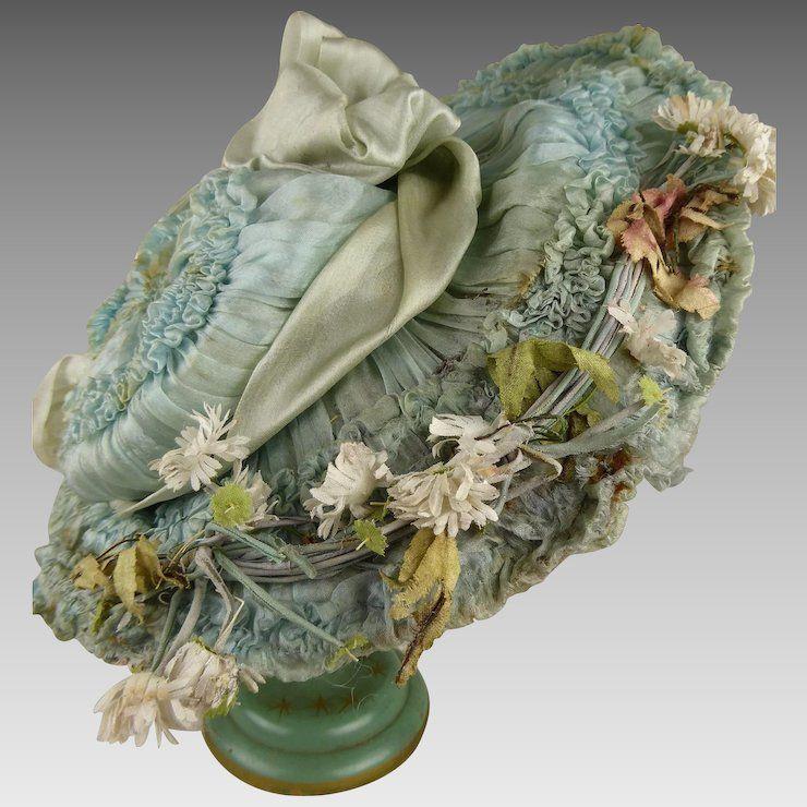 Striking  Antique Original blue silk dolls Hat from ca 1885 #dollhats
