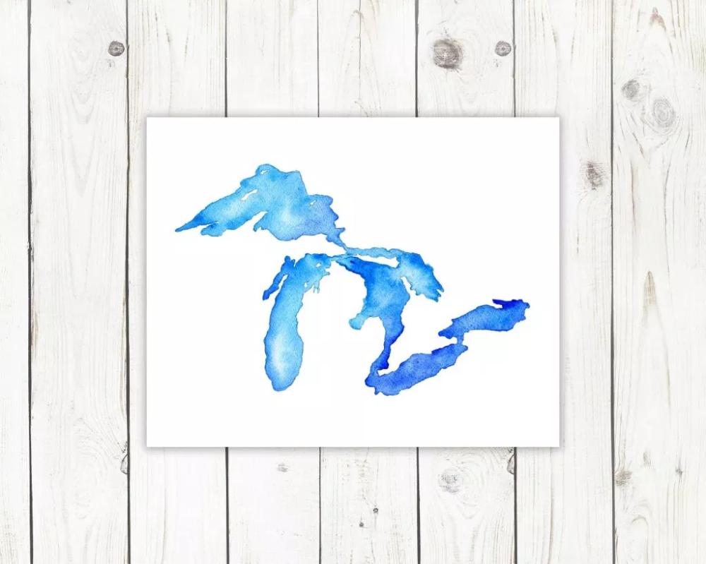The Big Lake Great Lakes Art The Big Lake Lake Art Art Great Lakes Map