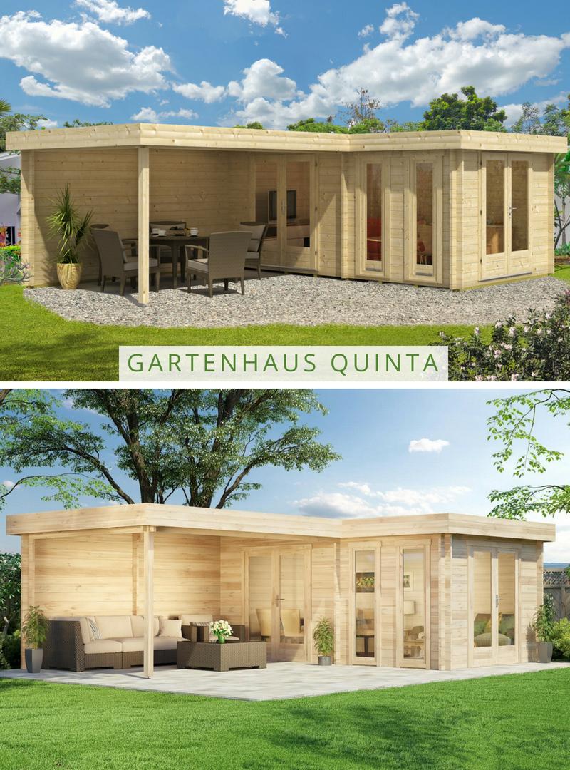 Das Gartenhaus Quinta mit Anbau passt perfekt in moderne