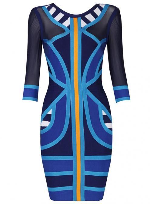 Stripe Spell Color Mesh Long Sleeve Bandage Dress H549 @Natalie Bonilla @Barbara Chu @Claudia Orman @Ivano Bellini @Jessica O'Donnell