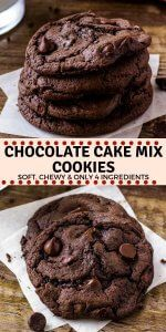 Chocolate Cake Mix Cookies - Soft, chewy & Only 4 Ingredients!