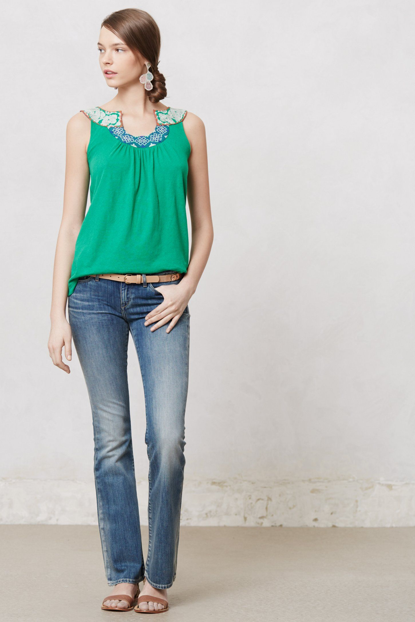 Embroidered ALine Tank Clothes, Petite jeans, Fashion
