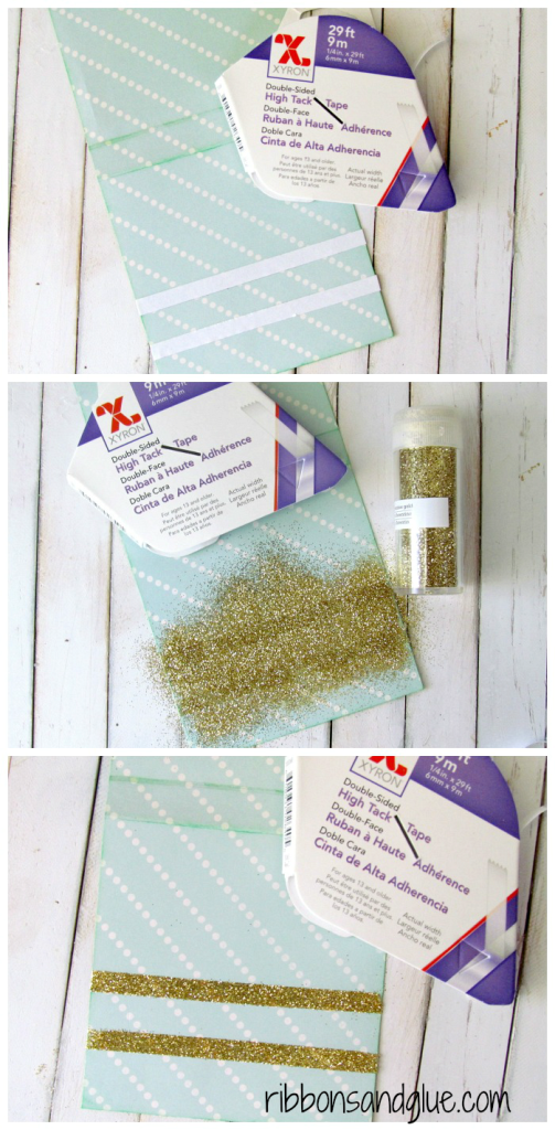 How to make DIY Glitter Tape.  Adhere @xyron double sided tape on to paper , sprinkle glitter, remove excess glitter and Voila- DIY Glitter Tape
