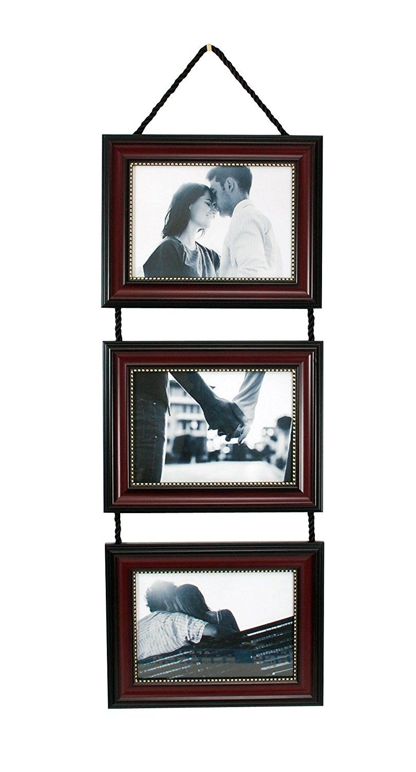 Kiera Grace Horizontal Lucy Collage Picture Frames On Hanging Ribbon Set Of 5 X 7 Inch Dark Brown With Gold Beading Continue To The Product At