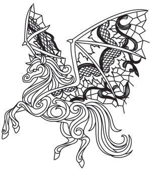 Ghost Pegasus design (UTH11415) from UrbanThreads.com