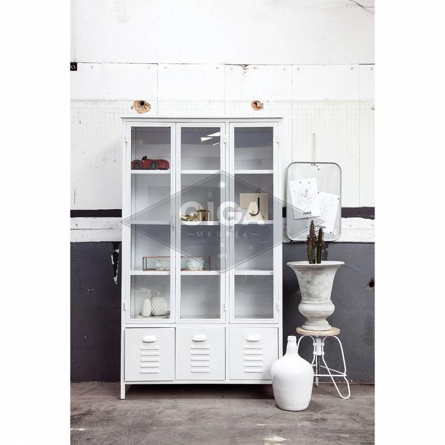 Witte Industriele Kast.Vitrinekast Industrieel 3 Deurs Wit Huisje Bedroom Home En