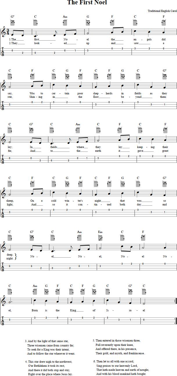 The First Noel Ukulele Sheet Music | Ukulele chords, Ukulele fingerpicking, Ukulele ...
