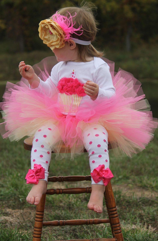 Pink Lemonade cupcake 1st Birthday tutu outfit. 50.00