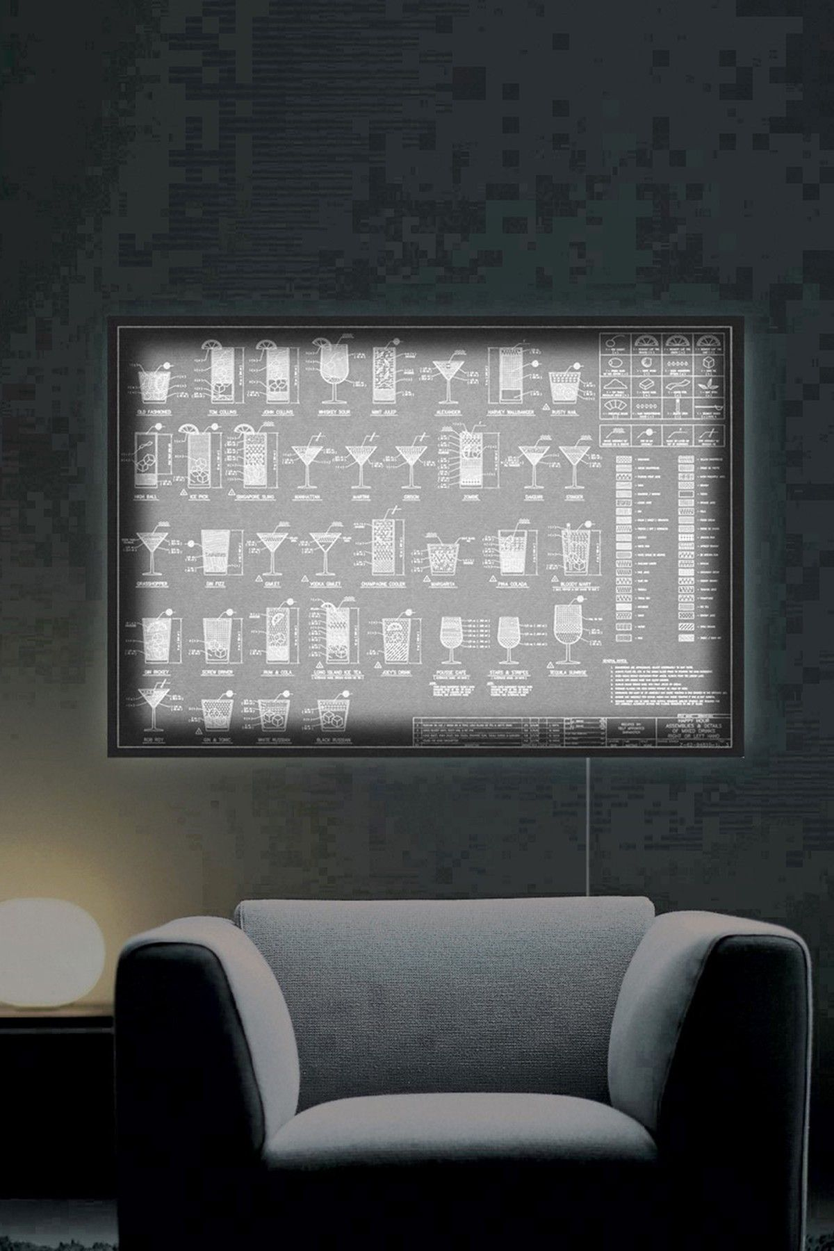 Oliver Gal Gallery Happy Hour Night LED Lightbox Art
