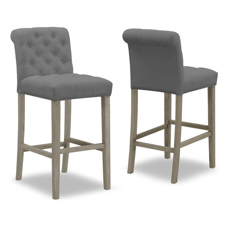 Glamour Home Aleen 29 In Upholstered Tufted Bar Stool Set Of 2