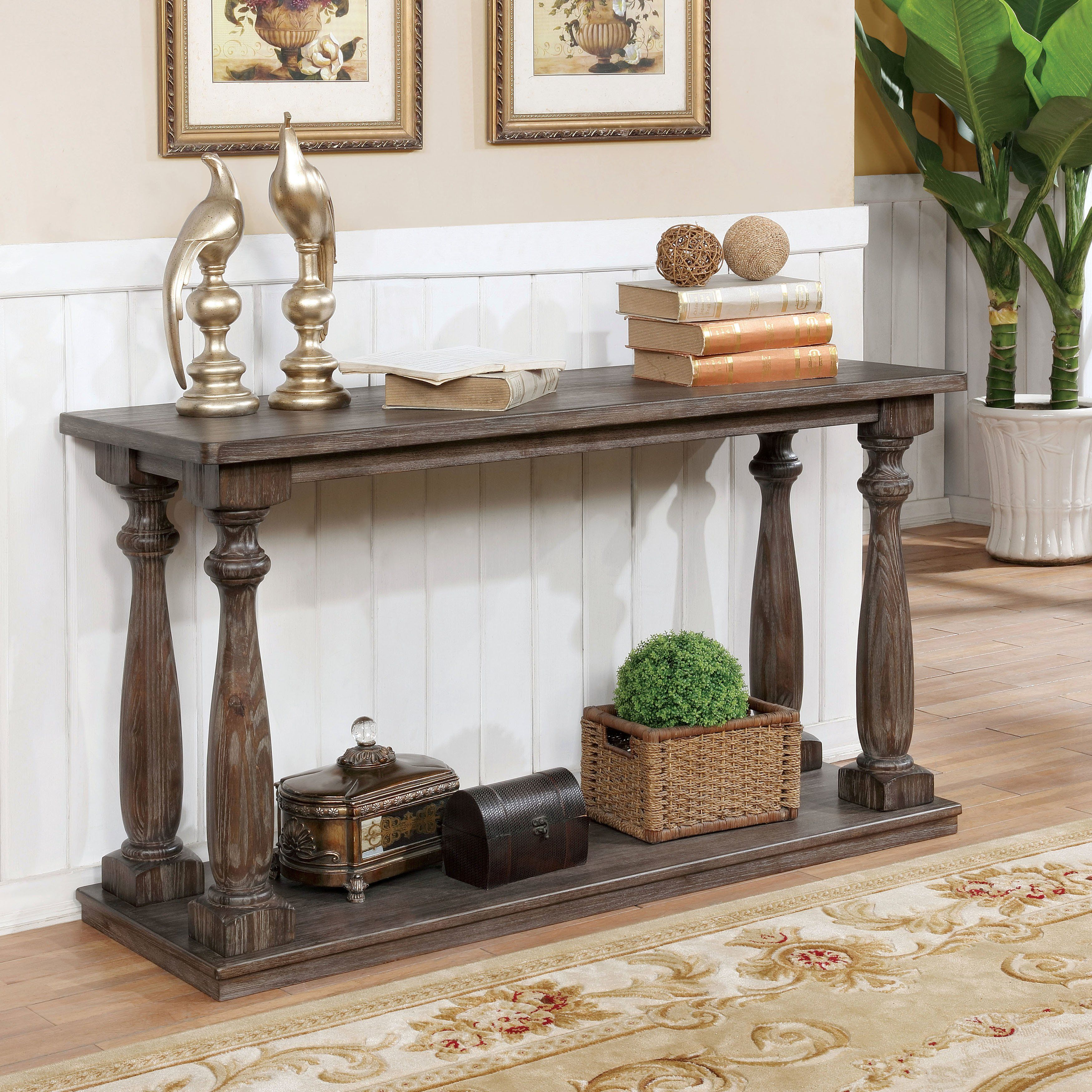 Shop Furniture Of America Jessa Rustic Country Style Open 54 Inch Wood Sofa Table On Sale Free Shipping Toda Rustic Furniture Country Sofas Wood Sofa Table
