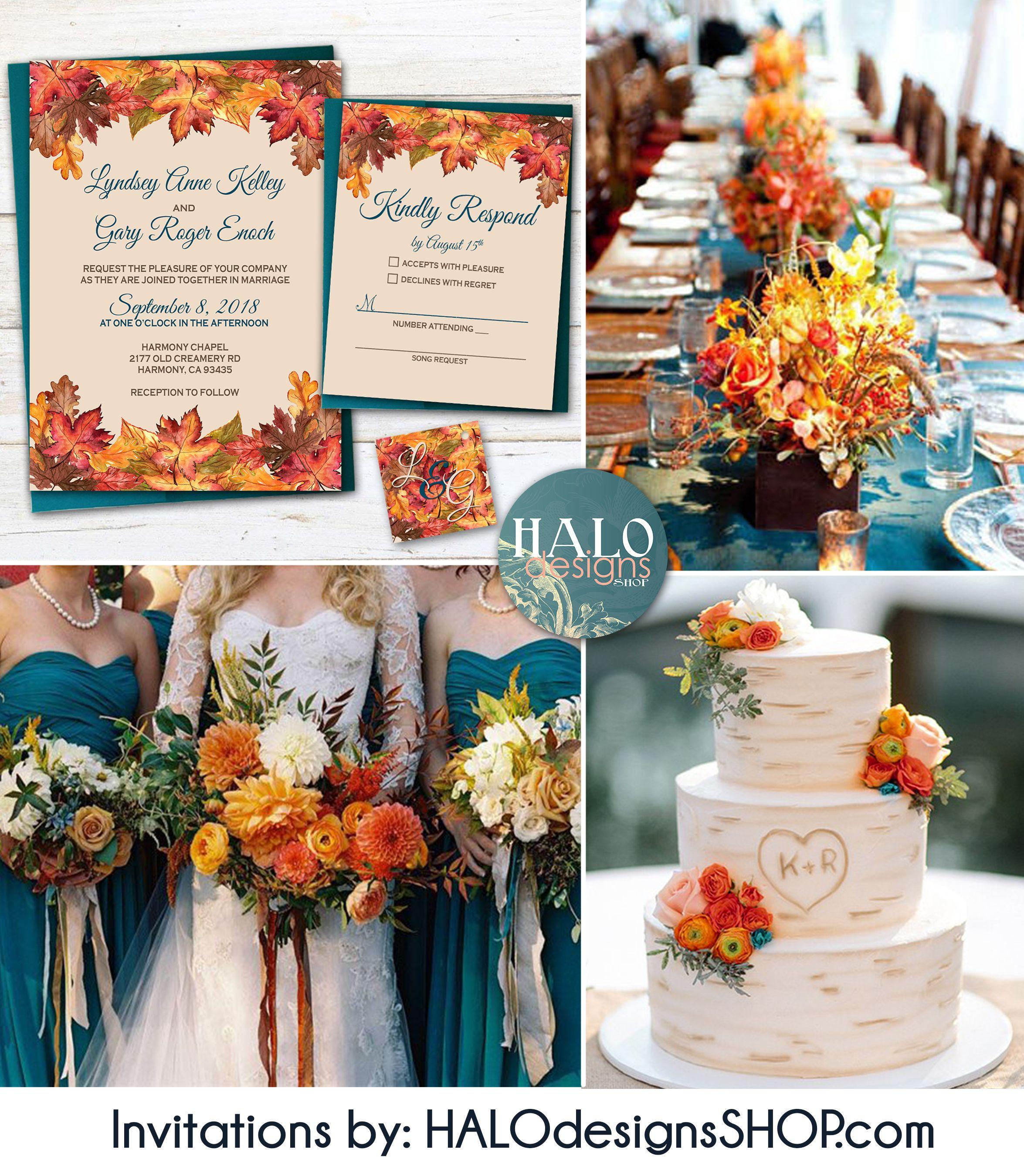 Fall Color Wedding Invitations: Rustic Fall Wedding Invitation, Orange & Teal Wedding