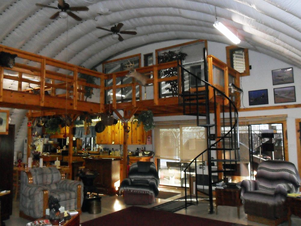 Steel homes prefab houses metal home kit arch hangars for Metal building interior ideas